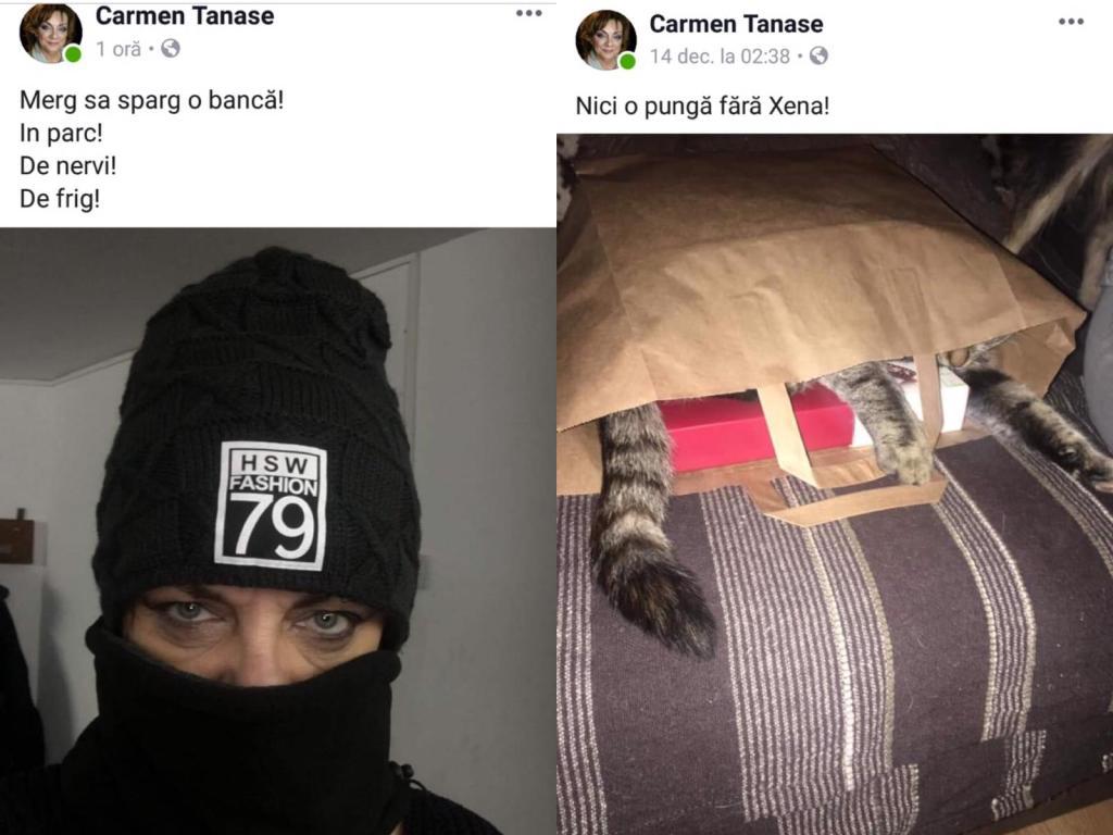 Carmen Tănase s-a pozat cu o căciulă pe cap; actrița a pozat pisica într-o sacoșă din hârtie