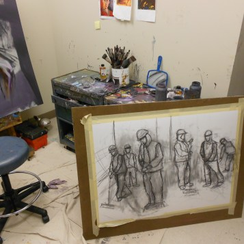 A peek at Katherine Corpe's private studio_ her BFA exhibition will include oil paintings and drawings. (Photo/Melissa Seyboldt)
