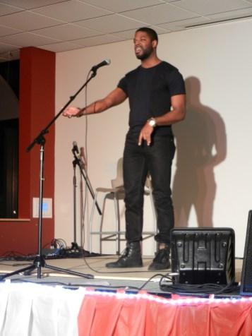 Carl Buchanon II performed a spoken word piece. (Photo/Bekka Oxley)