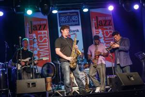 Saxophonist, Danny Lerman, jamming at last year's Jazz Festival