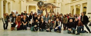 Honor students stopped to take a picture in front of Sue, the T-Rex at the Field Museum in Chicago.  Photo credit/Renae Michalski