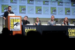 "CP ComicCon Panel: (left to right) Chris Hardwick, Guillermo del Toro, Mia Wasikowska, Tom Hiddleston and Jessica Chastain at the 2015 San Diego Comic Con panel for ""Crimson Peak."" Credit/Gage Skidmore via Flickr Creative Commons"