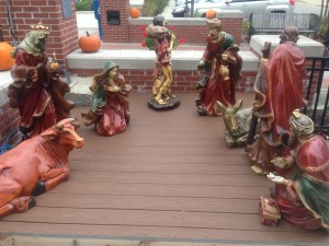 A nativity scene is on display at the South Bend Chocolate Café. Take notice of the pumpkins (symbolic to Thanksgiving) in the background. 'Tis not the season yet. Photo Credit/Leslie Lestinsky