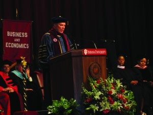 Chancellor Terry Allison delivers a speech. Allison has recently focused on student retention and graduation rates. Photo courtesy of the communication office of IUSB.