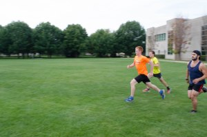 The IU South Bend Cross Country Team practices where Greenlawn Hall once stood. PHOTO/LEAH FICK