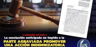 La conclusión anticipada no impide a la parte agraviada promover una acción indemnizatoria en la vía civil