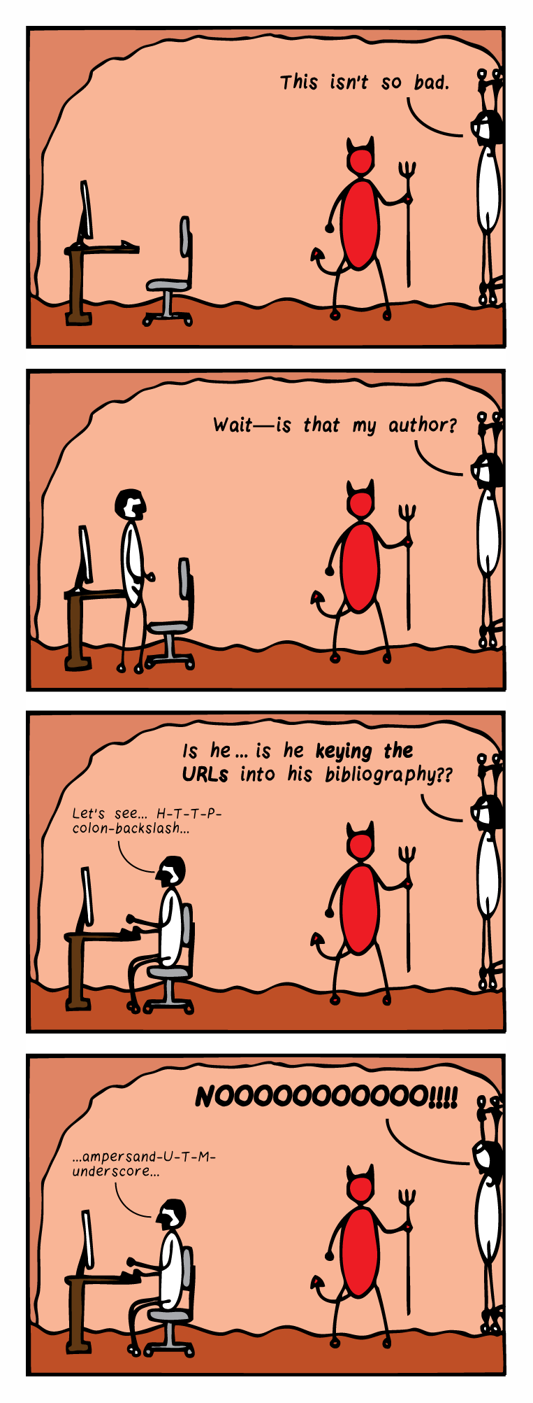 """Four-panel comic strip. Panel 1: Bespectacled editor is chained to the wall in hell while the devil stands by. There is a computer desk in the room. The editor says, """"This isn't so bad."""" Panel 2: A man approaches the computer desk. The editor says, """"Wait—is that my author?"""" Panel 3: The man is seated at the computer desk and mutters, """"Let's see... H-T-T-P-colon-backslash..."""" The editor says, """"Is he…is he keying the URLs into his bibliography??"""" Panel 4: The man continues to type, muttering, """"ampersand-U-T-M-underscore…"""" The editor tilts her head back and screams, """"NOOOOOOOOOO!!!"""""""