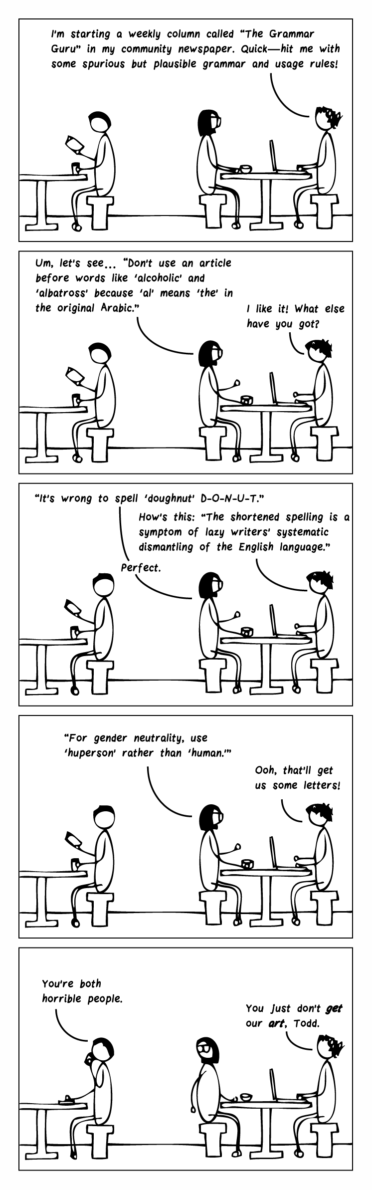 """Five-frame cartoon. Frame 1: Two editors are sitting at a table in a café. There's a man reading at the next table. One editor has a laptop and says, """"I'm starting a weekly column called """"The Grammar Guru"""" in my community newspaper. Quick—hit me with some spurious but plausible grammar and usage rules!"""" Frame 2: Bespectacled editor says, """"Um, let's see… """"Don't use an article before words like 'alcoholic' and 'albatross' because 'al' means 'the' in the original Arabic."""" Curly-haired editor says, """"I like it! What else have you got?"""" Frame 3: Bespectacled editor says, """"It is wrong to spell 'doughnut' D-O-N-U-T."""" Curly-haired editor says, """"How's this: """"The shortened spelling is a symptom of lazy writers' systematic dismantling of the English language."""" Bespectacled editor says, """"Perfect."""" Frame 4: Bespectacled editor says, """"""""For gender neutrality, use 'huperson' rather than 'human.'"""" Bespectacled editor says, """"Ooh, that'll get us some letters!"""" Final frame: The man at the next table says, """"You're both horrible people."""" Curly-haired editor says, """"You just don't GET our ART, Todd."""""""
