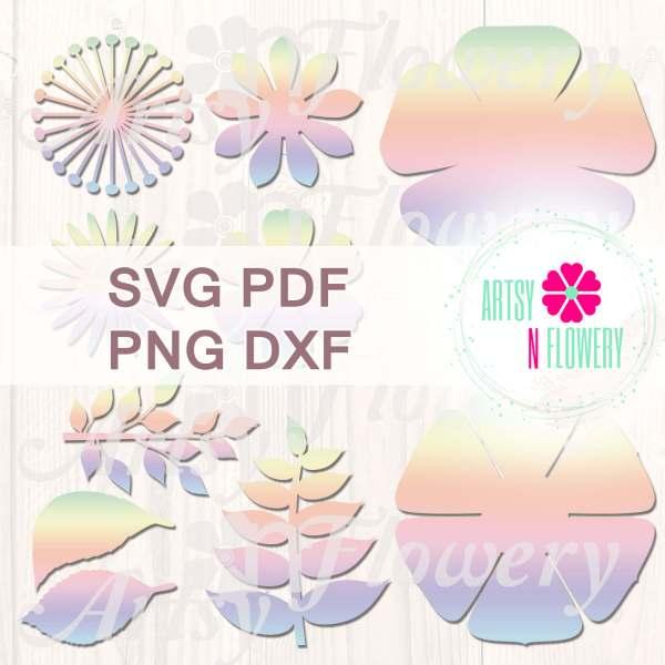Paper flower template bundle SVG PDF