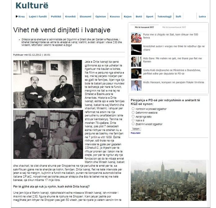 Vihet në vend dinjiteti i Ivanajve (Gazeta Shekulli, 02.12.2012)