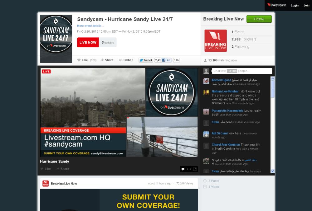Links para seguir en streaming el huracán Sandy en New York (1/3)