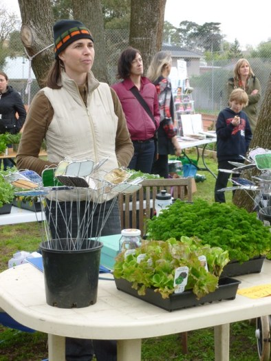 Stacey mans the plants and plant label stall