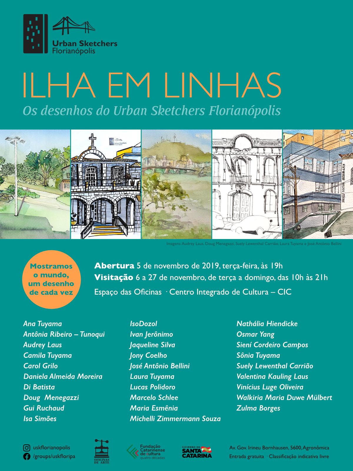 """Convite da exposição """"Ilha em Linhas – Os desenhos do Urban Sketchers Florianópolis"""""""