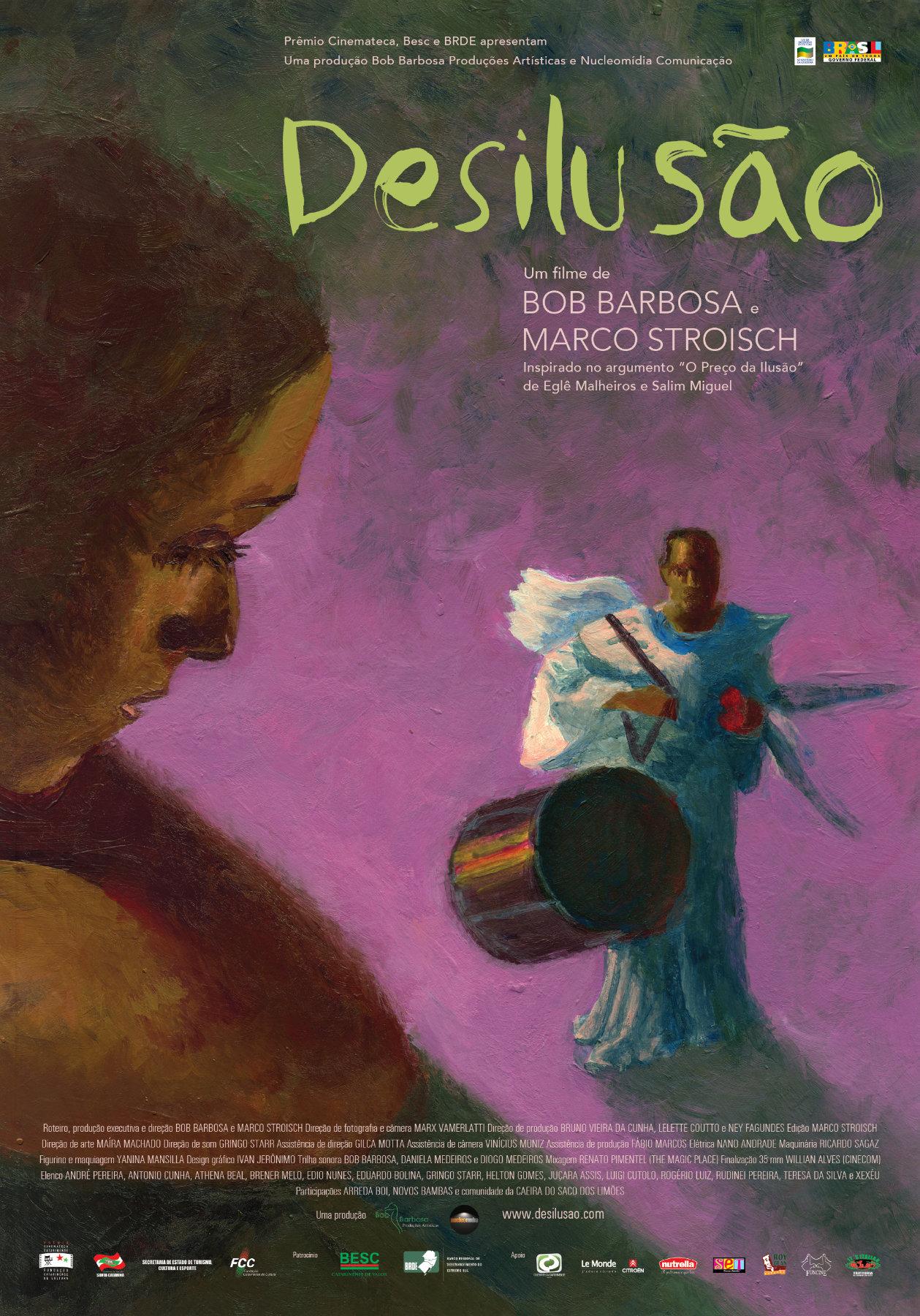 Cartaz do filme Desilusão com pintura mostrando uma moça na janela olhando para um homem com fantasia de carnaval e um bumbo
