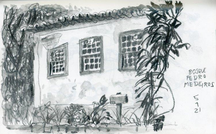 Desenho a lápis de uma casa em estilo açoriano com três janelas