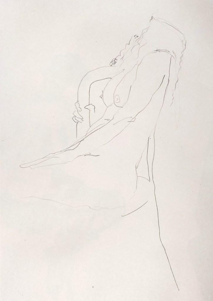 Desenho a grafite de uma mulher sentada