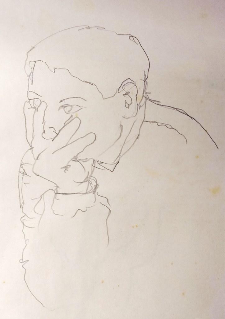 Retrato a lápis de um rapaz com a mão no rosto