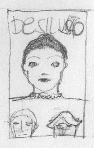 Desenho a lápis com busto de mulher e duas cabeças de homens sobrepostos aos seios