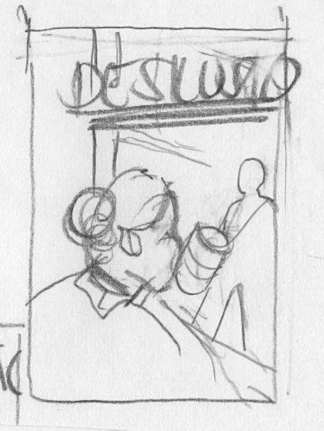 Desenho lápis com a personagem olhando o rapaz com bumbo pela janela