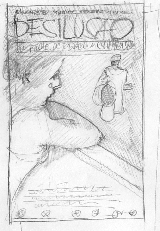 Desenho a lápis mais detalhado, próximo à versão final