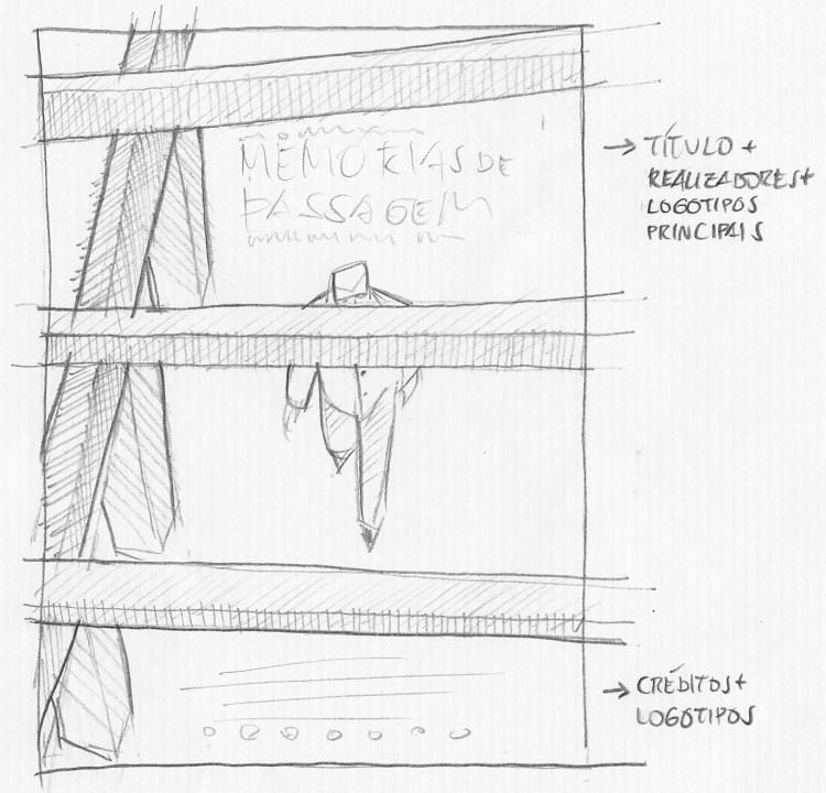 Desenho a lápis do personagem passando por baixo de vigas