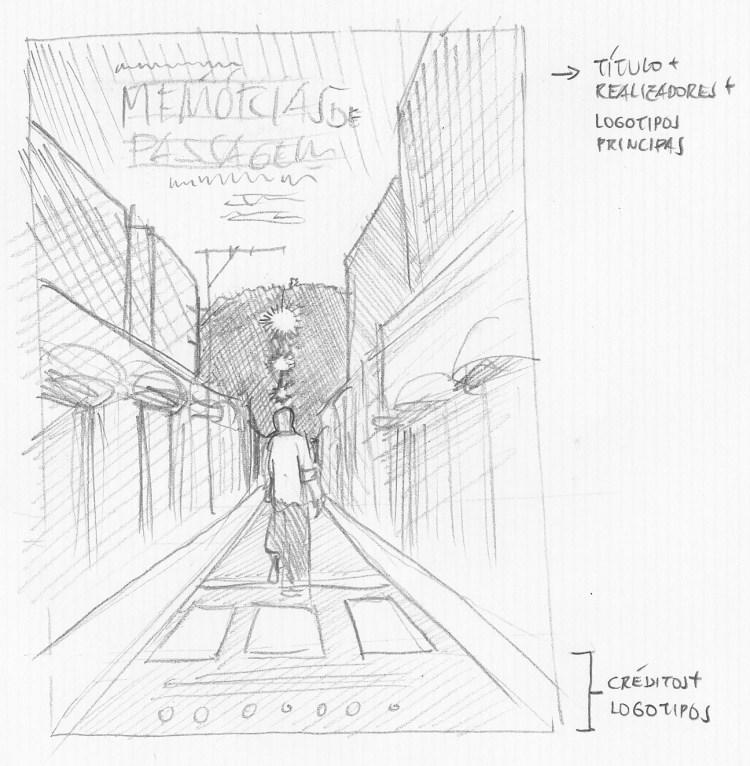 Desenho a lápis do personagem caminhando por um calçadão