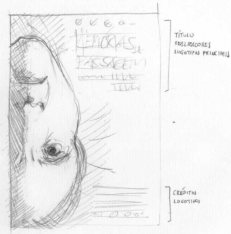 Desenho a lápis com o rosto do personagem de cabeça para baixo