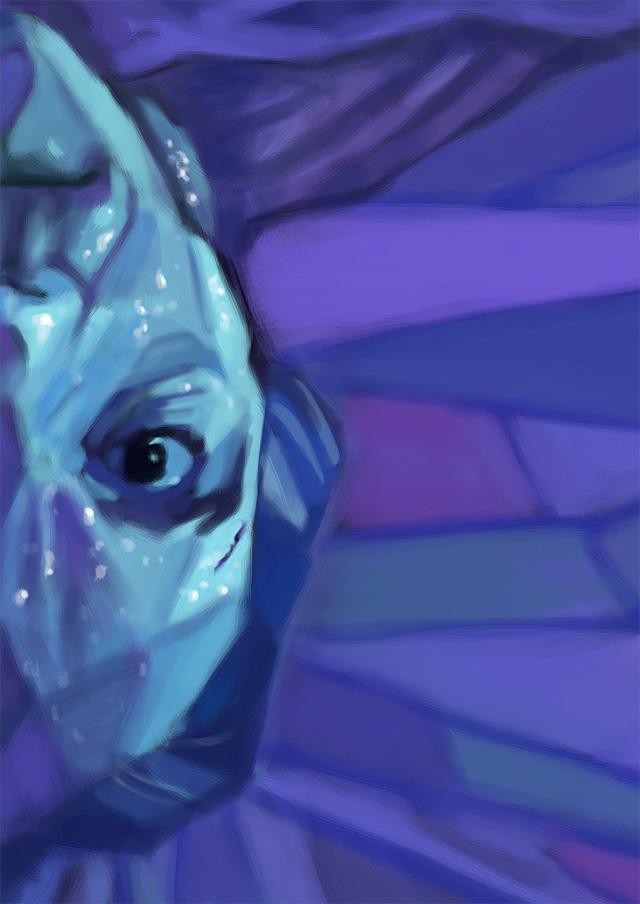 Pintura em tons azuis com o personagem de cabeça para baixo
