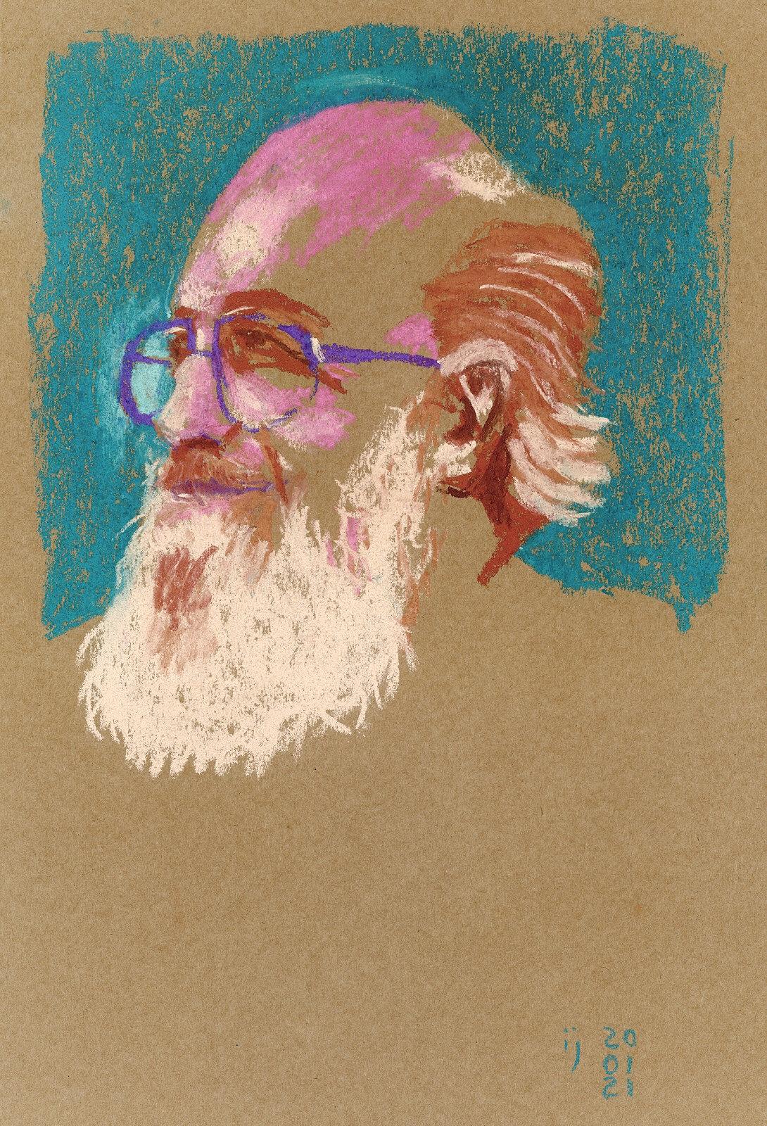 Retrato em pastel seco de Paulo Freire visto em três quartos, de barba branca e óculos