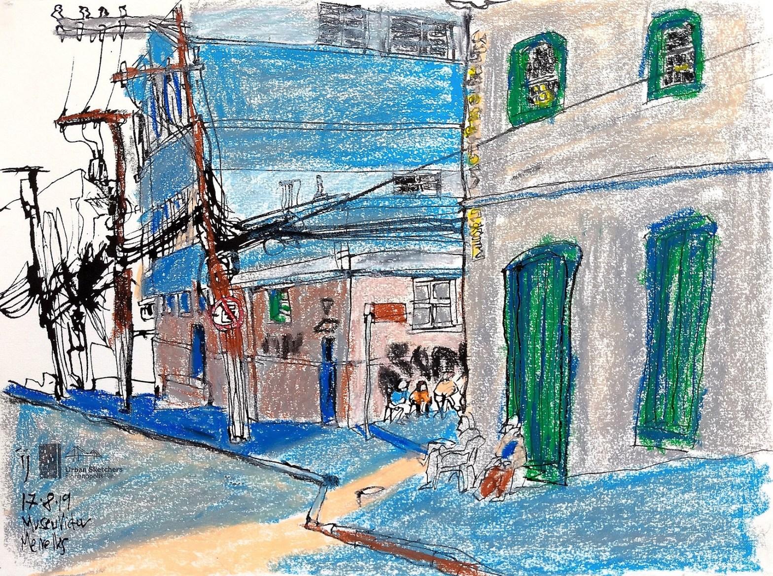 Desenho colorido mostrando os prédios, os postes e algumas pessoas sentadas