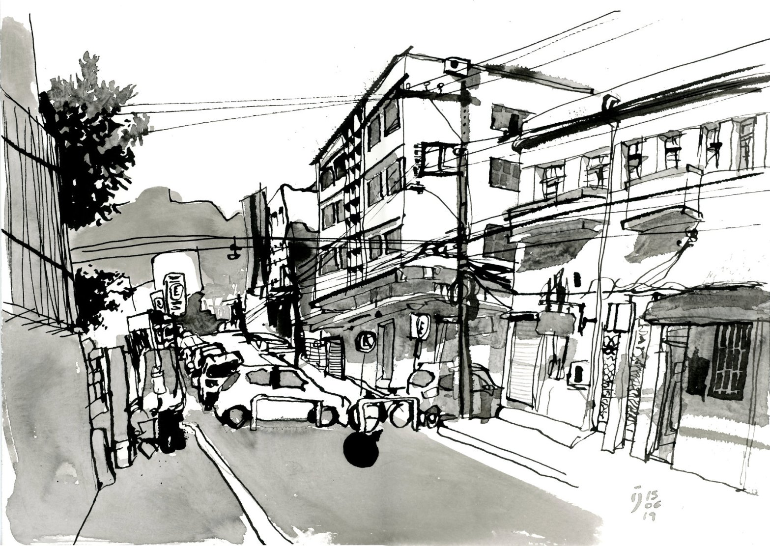 Desenho a traço em nanquim mostrando esquina de duas ruas com prédios, carros estacionados e postes