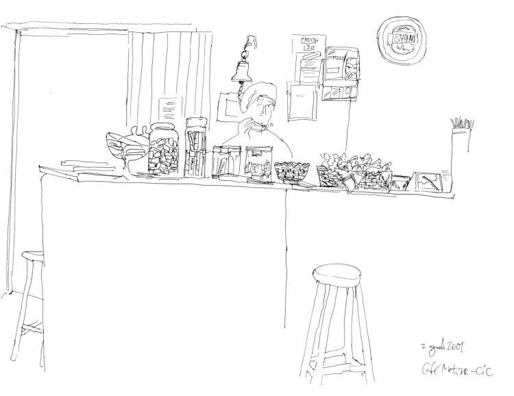 Desenho a traço mostrando o balcão do café com um banco em primeiro plano, doces em cima do balcão e atrás, a atendente
