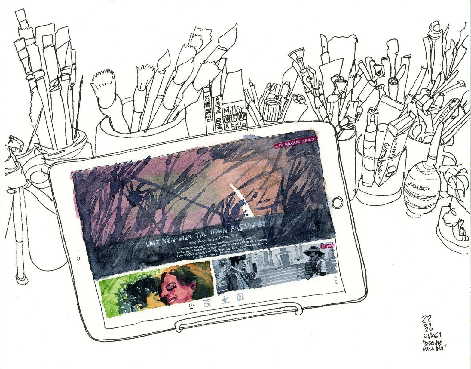 Desenho mostrando um tablet em primeiro plano com vários materiais de desenho ao fundo. Só a tela do tablet é colorida