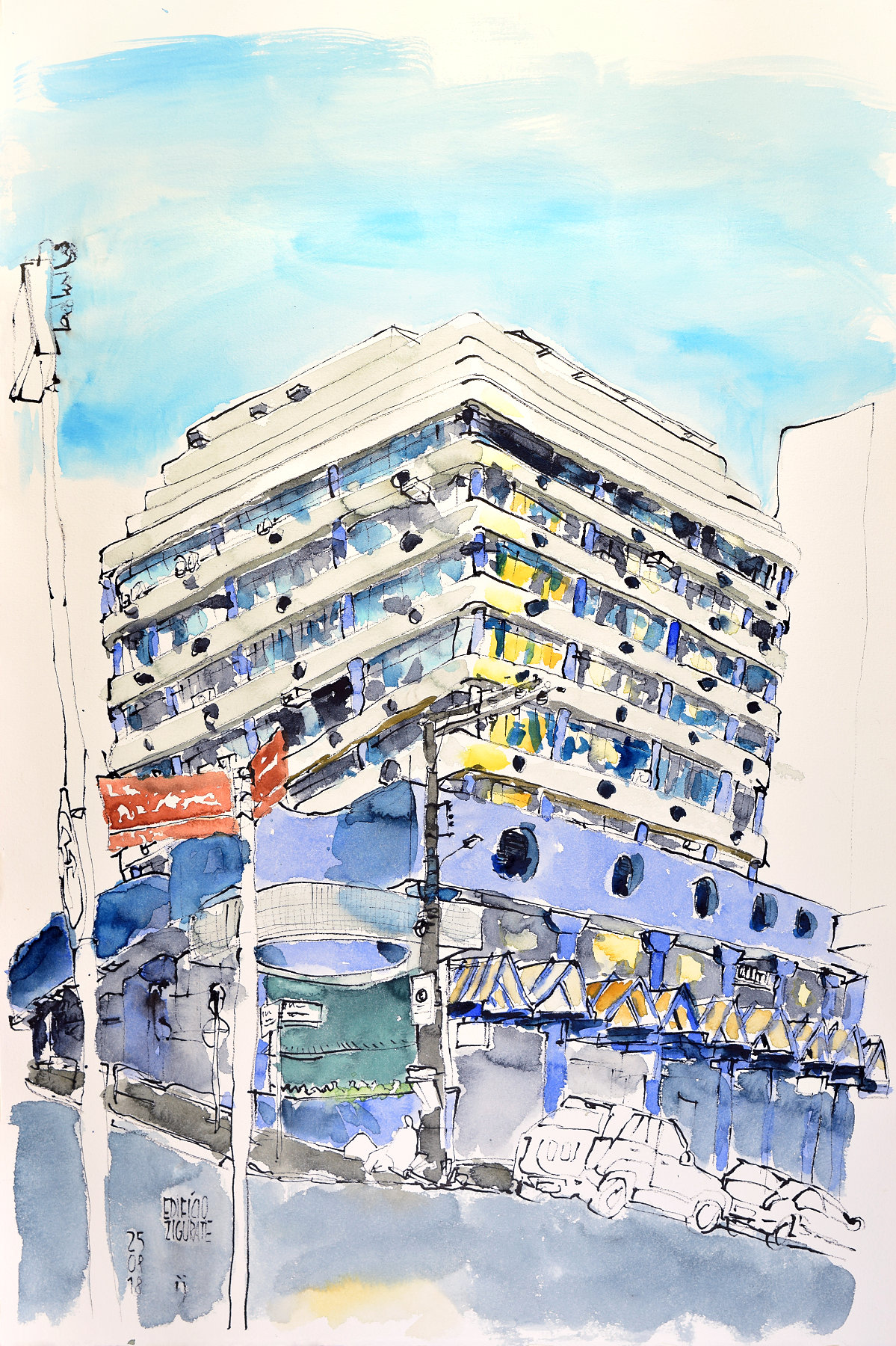 Desenho a traço colorido com aquarela do edifício Zigurate, em uma esquina, com volumes horizontais nas duas fachadas