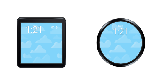 Android smartwatch shapes