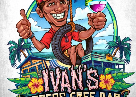 Logo design I created for a beach bar resort in the Caribbean featuring a caricature of the resort's owner, Ivan. This is exactly the kind of logo I really enjoy working with:  lots of colors and details. To see more of my work, or hire me for freelance projects, please visit my website:  www.flylanddesigns.com