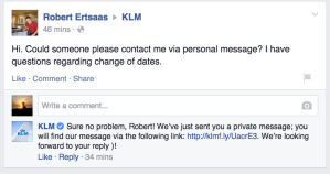 KLM društevene mreže facebook