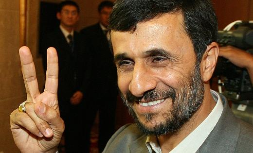 President Ahamdinejad has got his «V». Only the «2» is missing. Than Israel will be gone, and the hidden 12th Imam can return.