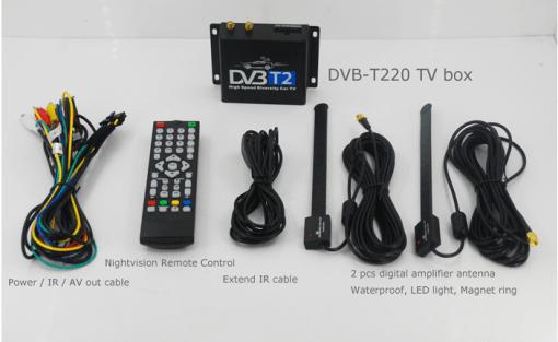 Car DVB-T2 Digital TV receiver two tuner dual antenna high speed 6
