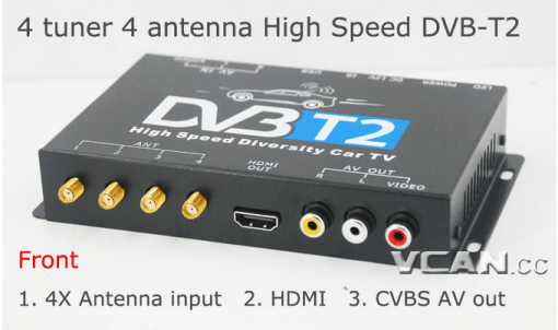 Car DVB-T2 4 Tuner 4 Antenna Digital TV Receiver for High speed auto mobile with USB movie player HDMI out HDTV DVB-T24 1