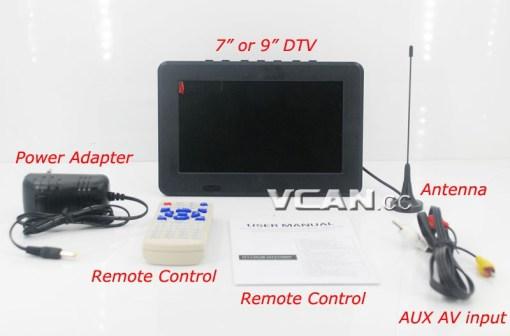 7 DVB-T2 7 inch Digital TV monitor Analog TV USB TF MP5 player AV in Rechargeable Battery 6