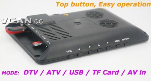 7 DVB-T2 7 inch Digital TV monitor Analog TV USB TF MP5 player AV in Rechargeable Battery 4