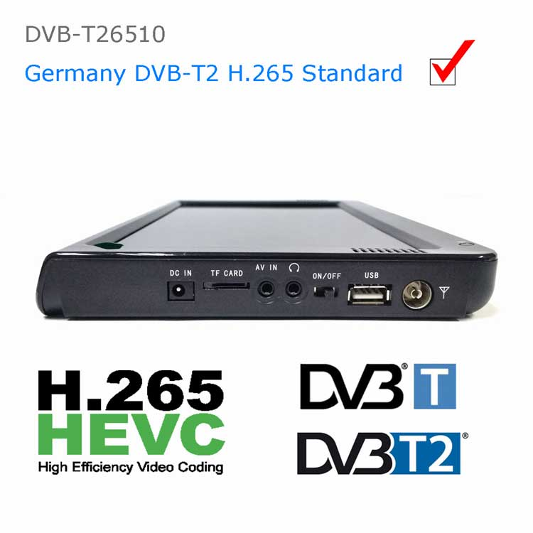 10 inch dvb-t2 h265