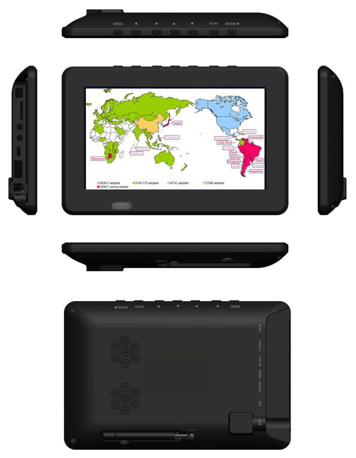 7 DVB-T2 7 inch Digital TV monitor Analog TV USB TF MP5 player AV in Rechargeable Battery 18