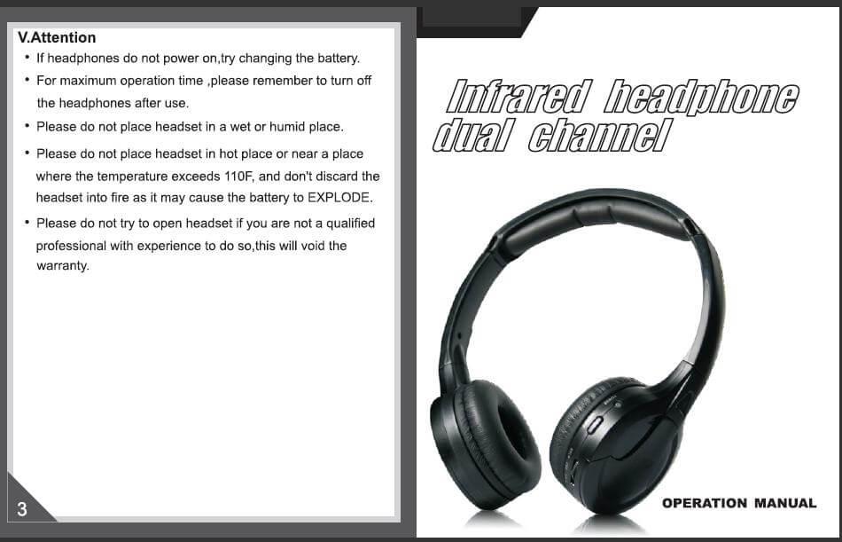wireless headphone IR dual channels VCAN0239 1