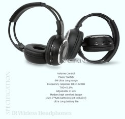 WL-2008 car wireless IR stereo TV headphone infrared headset with TV, VCR, VCD, DVD or audio system 7