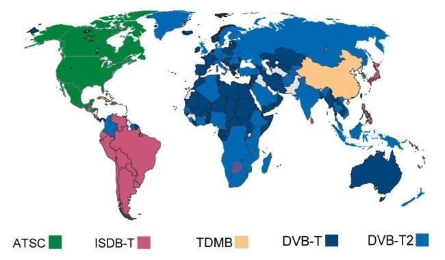 dvb-t dvb-t2 atsc isdb-t adopted map