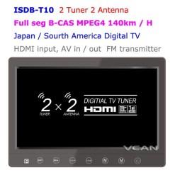 2 tuner 2 antenna isdb-t digital tv receiver 10.1 inch full segment digital TV receiver for Japan mini b-cas card reader high speed moving 11