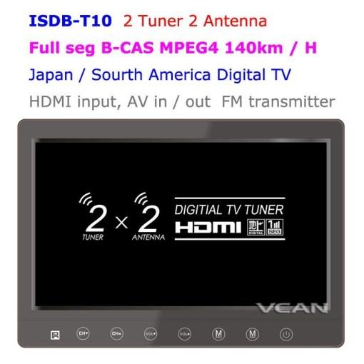 2 tuner 2 antenna isdb-t digital tv receiver 10.1 inch full segment digital TV receiver for Japan mini b-cas card reader high speed moving 1