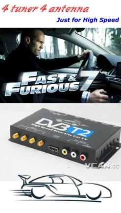 Car DVB-T2 TV Receiver 4 Tuner 4 Antenna USB HDMI HDTV Russia High Speed 10